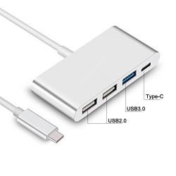 ADAPTADOR USB 3.1 TIPO C A HUB CON 2xUSB 2.0 1 Y 1xUSB 3.1 TIPO C | COLOR PLATA/SILVER