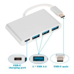 ADAPTADOR USB 3.1 TIPO C A HUB CON 3 PUERTOS USB 3.0 Y PUERTO USB TIPO C | COLOR PLATA / SILVER