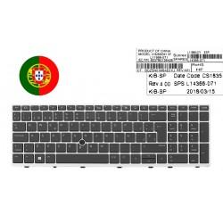 TECLADO PORTUGUÉS HP ELITEBOOK 850 755 G5 ZBOOK 15U G5 SERIES CON FRAME PLATA CON POINTSTICK