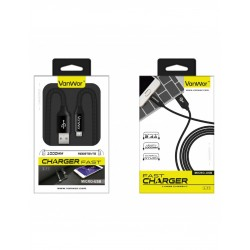 CABLE MICRO USB 1METRO 2.4A NYLON | NEGRO