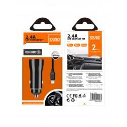 CARGADOR COCHE MICRO 2 PUERTOS USB 2.4A CON CABLE TURBO LIGHTNING 1.2M   NEGRO