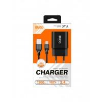CARGADOR SMART CHARGER 1xUSB 2.4A 12W + CABLE MICRO USB | NEGRO