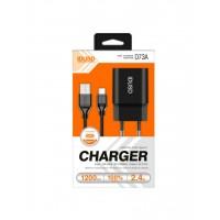 CARGADOR SMART CHARGER 1xUSB 2.4A 12W + CABLE TIPO C | NEGRO