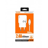 CARGADOR SMART CHARGER 2xUSB 2.4A 12W + TURBO CABLE TIPO C 2M | BLANCO