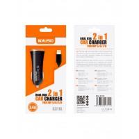 CARGADOR COCHE LIGHTNING IPHONE 5/6 | 2 EN 1 | 3.4A | NEGRO