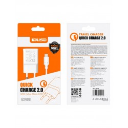 CARGADOR QUICKCHARGE 2.0 CON CABLE MICRO USB | 2 EN 1 | BLANCO