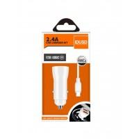 CARGADOR COCHE MICRO 2 PUERTOS USB 2.4A CON CABLE TIPO C 1.2M | BLANCO