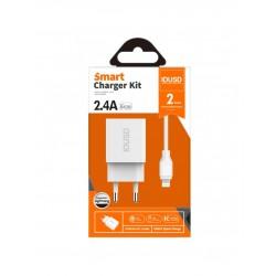 CARGADOR SMART CHARGER CON 2 PUERTOS USB 5V 2.4A + CABLE LIGHTNING