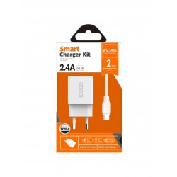 CARGADOR SMART CHARGER 2-USB 2.4A 12W + TURBO CABLE TIPO C 1.2M   BLANCO