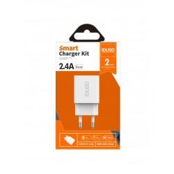 CARGADOR SMART CHARGER 2-USB 2.4A 12W | BLANCO