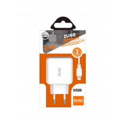 CARGADOR SMART CHARGER 2-USB 2.4A 12W + TURBO CABLE LIGHTNING USB 1.2M | BLANCO