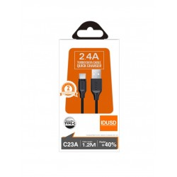 TURBO CABLE TIPO C 1.2M 2.4A | NEGRO